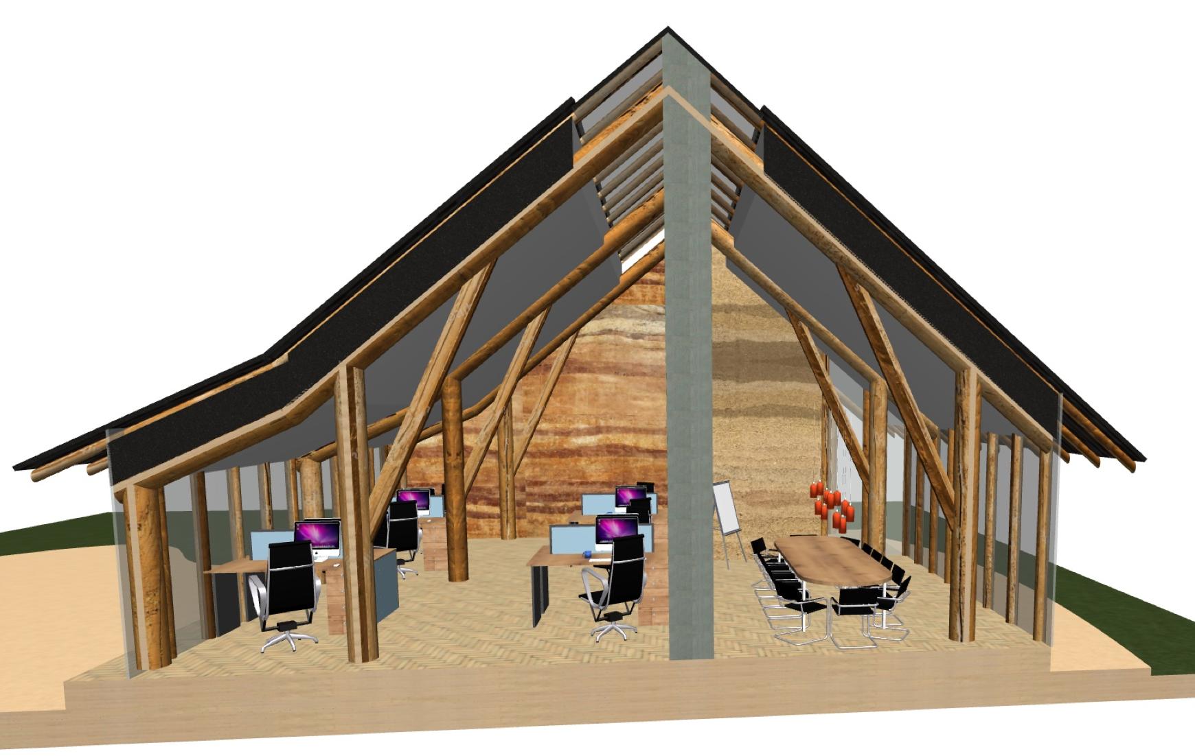 ecologisch kantoor, stampleem, leemstuc, ecologisch, giesen architectuur, utrecht, houtskeletbouw, houtbouw, strobouw, bouwen met strobalen, strobalenbouw, strohuis, aarde, natuur, kantoorgebouw, kantoor, werkplek,